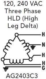 120 240 high leg delta