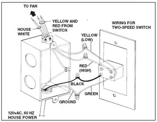 how to wire switches two speed fan wiring