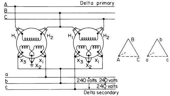 2 transformer 3 phase delta 550 how to wire 3 phase 120/208v single phase wiring diagram at mifinder.co