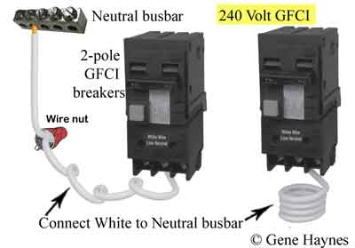 how to install a subpanel how to install main lug neutral wire needed in 240volt subpanel when installing 2 pole gfci breaker 240v gfci has white wire this wire must be connected to neutral busbar