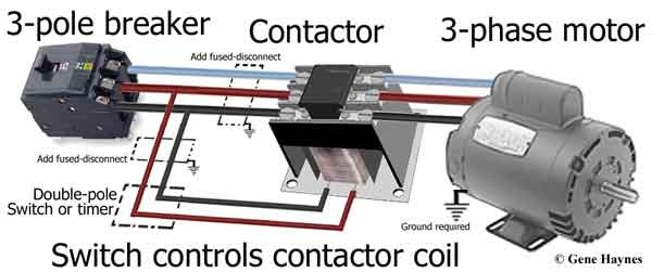 3 phase motor and breaker2 600 3 pole contactors 2 pole contactor wiring diagram at sewacar.co