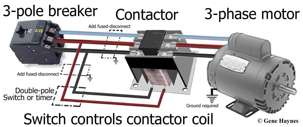 3 phase motor and breaker2 3 pole contactors 3 phase contactor wiring diagram at gsmportal.co