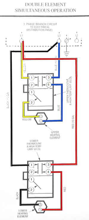 3 phase water heater 3 Phase to Single Phase Wiring Diagram