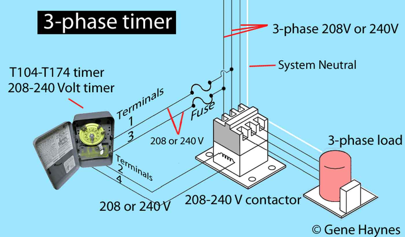 How To Wire Intermatic T104 And T103 T101 Timers Pump 220 Volt Wiring Diagram Further 240 Motor Larger Image 208 3 Phase