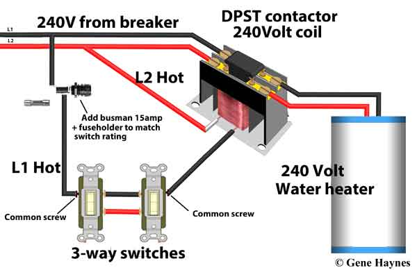 3-way switches control water heater