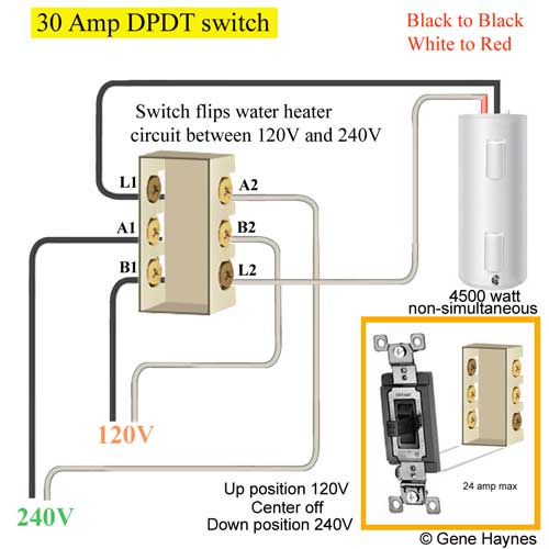30 Amp DPDT switch update 5 control water heater using 30 amp switch Double Pole Switch Schematic at crackthecode.co