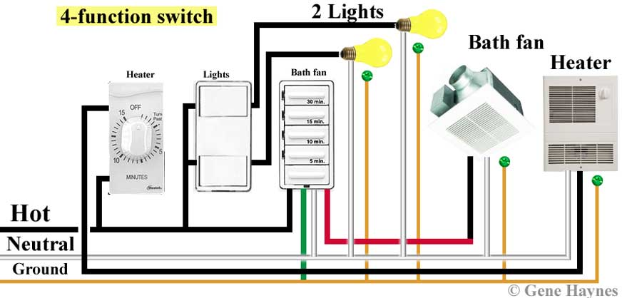 How to wire 4 function switch exhaust fan motor wiring diagram Waterheatertimer.org