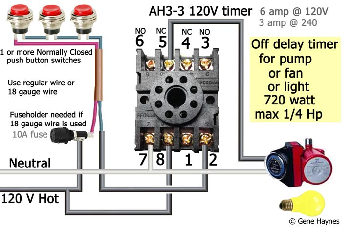 AH3 delay timer wiring with push button