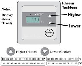 Adjust temperature rheem tankless
