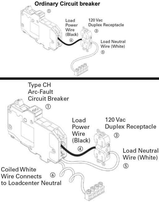 arc fault breaker, wiring ordinary circuit breaker (no gfci