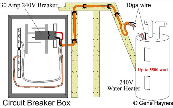 240 volt water heater circuit