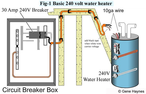 Basic 240 Volt water heater circuit how to wire water heater for 120 volts wire diagram for 240 volt wall heater at bakdesigns.co