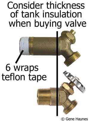 Brass water heater drain valve