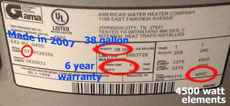 Water heater lable