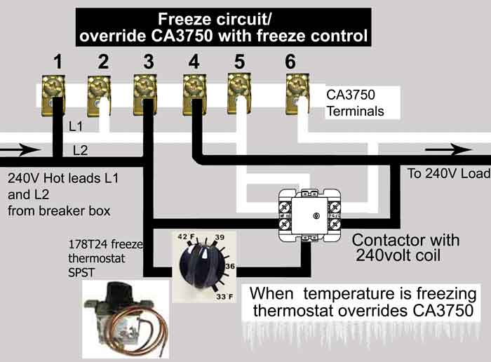 Wire freeze control to CA3750 contactor