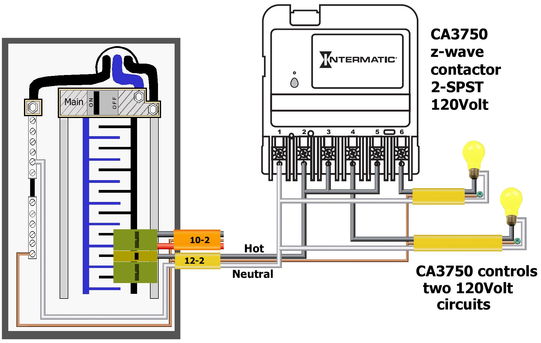 How To Wire Intermatic Ca3750 120 Volt Contactor Wiring Controls Two 120volt Circuits Larger Image