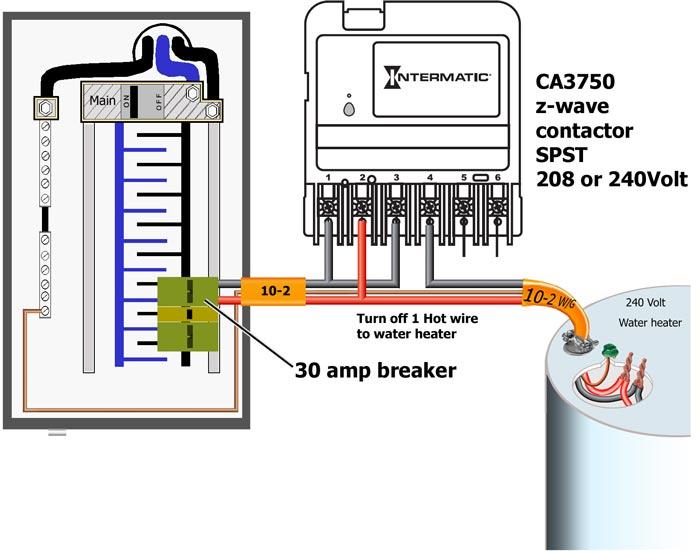 CA3750 controls water heater