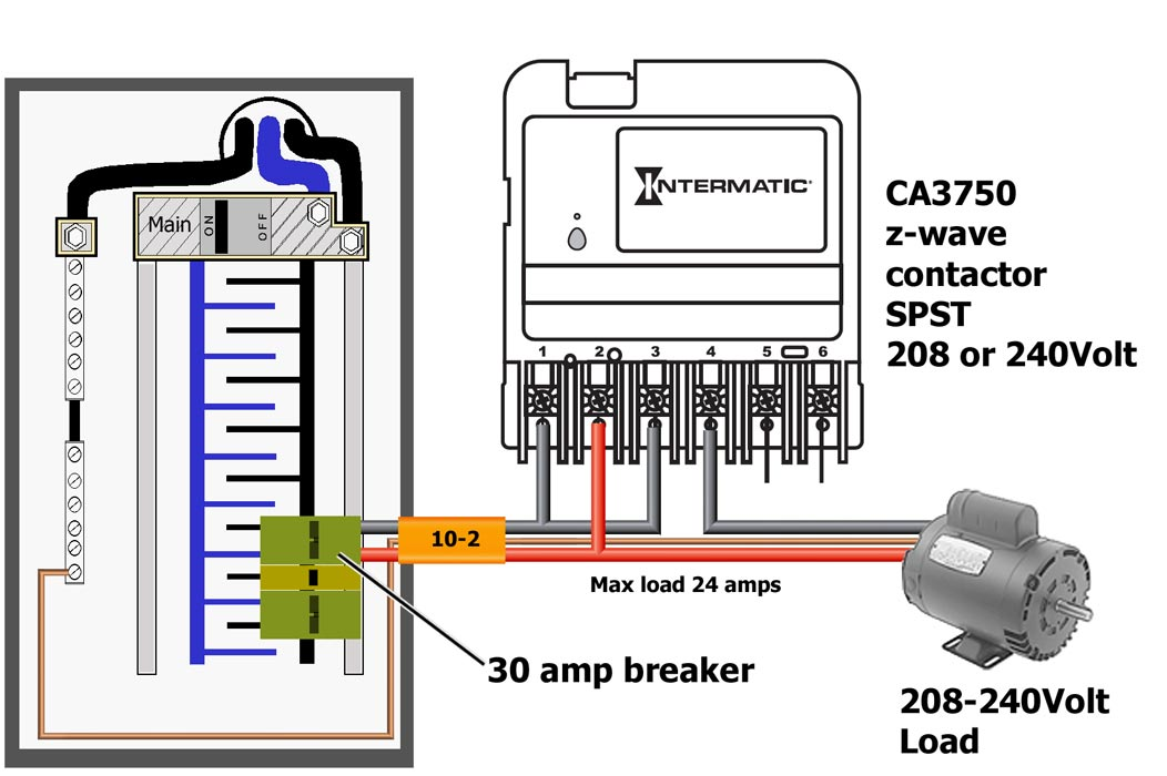 how to wire intermatic ca3750 same wiring applies to 120volt 2 speed motor or pump where white neutral wire replaces red wire and white neutral connects to neutral busbar in breaker