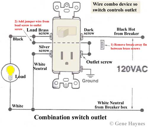 how to wire combination switch outlet how to wire a switch outlet combo with power constantly supplied to the outlet at Combination Switch Wiring Diagram