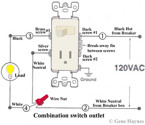 how to wire combination switch outlet rh waterheatertimer org combination switch receptacle wiring diagram Light Switch Outlet Wiring Diagram