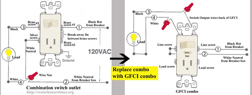 Combination switch outlet 6a 1000 split outlet wiring diagram wiring a recepticle in \u2022 wiring wiring diagram for gfci receptacle at bayanpartner.co