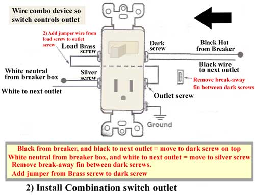 Combo switch replaces outlet 500 2 switch and plug wiring diagram wiring a switch to control an light switch outlet combo wiring diagram at bayanpartner.co
