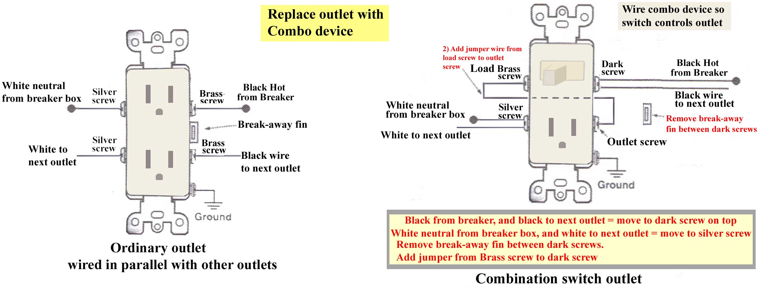 How To Replace Outlet With Combo Switch - Wiring a light switch and outlet together diagram