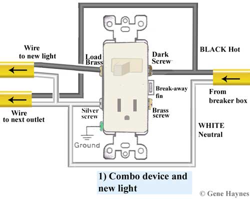 how to replace outlet with combo switch Light Switch Electrical Wiring Outlet
