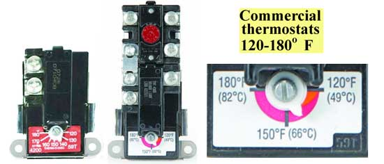 Commercial water heater thermostats