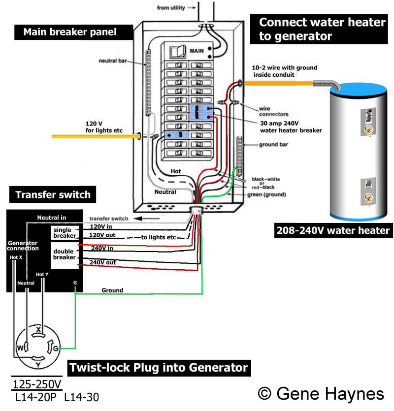 how to wire transfer switch rh waterheatertimer org  120 volt light switch wiring diagram