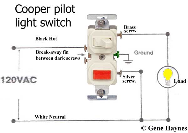 How to wire Cooper 277 pilot light switch For Wiring Switch on relay for switch, bracket for switch, connectors for switch,