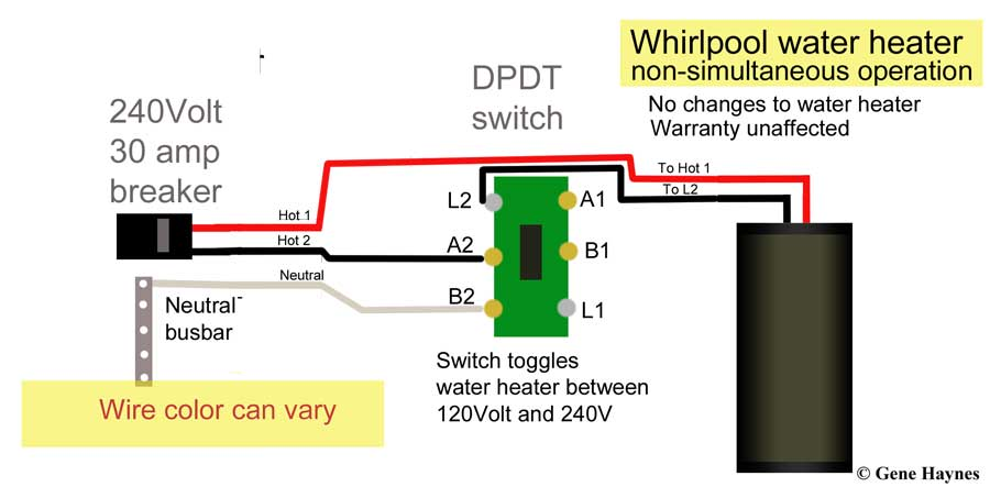 control water heater using 30 amp switch, Wiring diagram