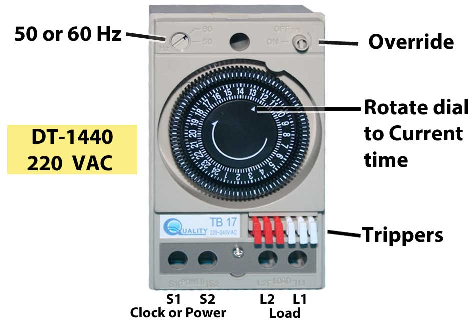 how to wire dt 1440 timer 220 volt ac 15 amp x 220 volts 3300 watts motor load 220volt 1500 watt max 1 3 hp motor select 50 or 60 hz to match local power worldwide wires