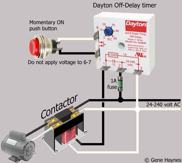 how to wire dayton off delay timer rh waterheatertimer org Reversing Contactor Wiring Diagram GE Lighting Contactor Wiring Diagrams