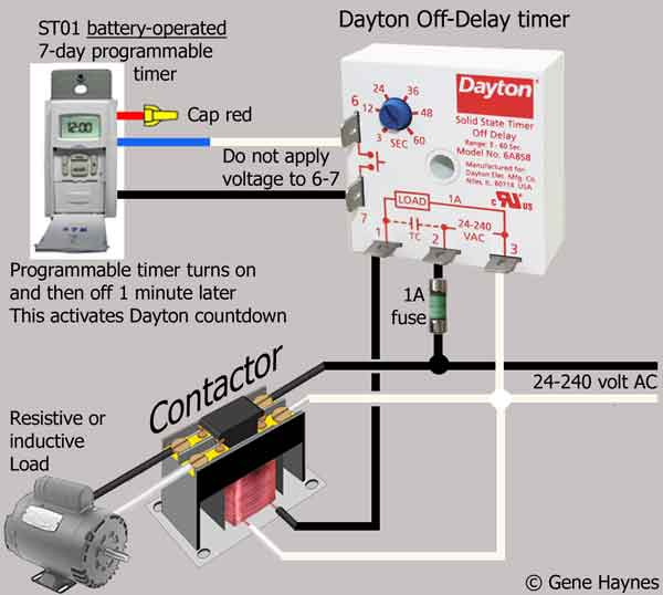 How to wire Dayton Off Delay Timer  Vdc Contactor Relay Wiring on time delay relay wiring, din rail relay wiring, timer relay wiring, thermostat relay wiring,