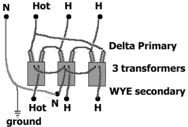 Delta wye 3 transformers how to identify transformer wiring delta to wye transformer wiring diagram at webbmarketing.co
