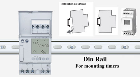 Din rail mounted timer