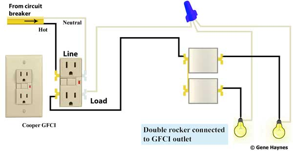 Double rocker switch 2 gang GFCI 600 how to wire switches wiring diagram for double switch at bayanpartner.co