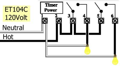 ET104C timer wiring 120volt 400 how to wire intermatic et series timer time clock wiring diagram at bayanpartner.co