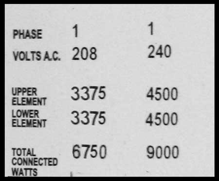 9000 watt water heater label