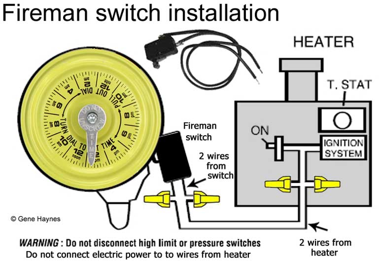 how to connect fireman switch to pool heater