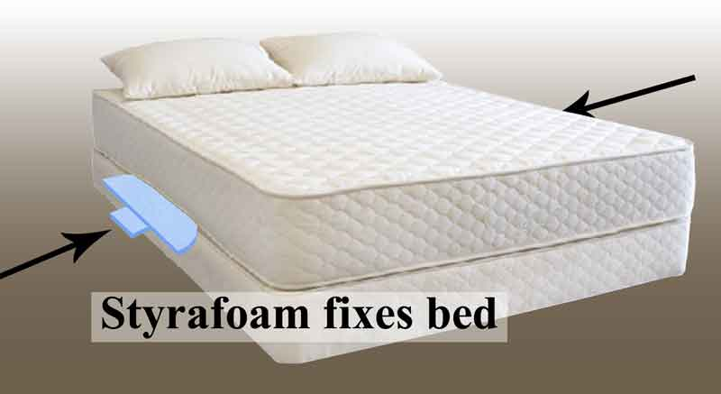Fix sagging mattress with styrafoam