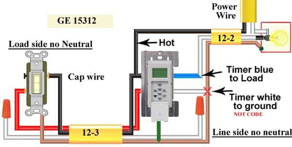 how to wire ge 15312 sunsmart timer for single pole 3 way rh waterheatertimer org