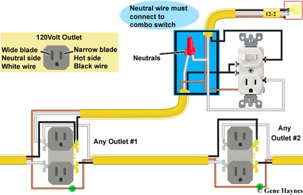 How to wire combination switch outlet Back Outlet Wiring Circuit on outlet wiring diagrams, outlet wiring voltage, outlet wiring design, outlet insulation, outlet wiring connections,