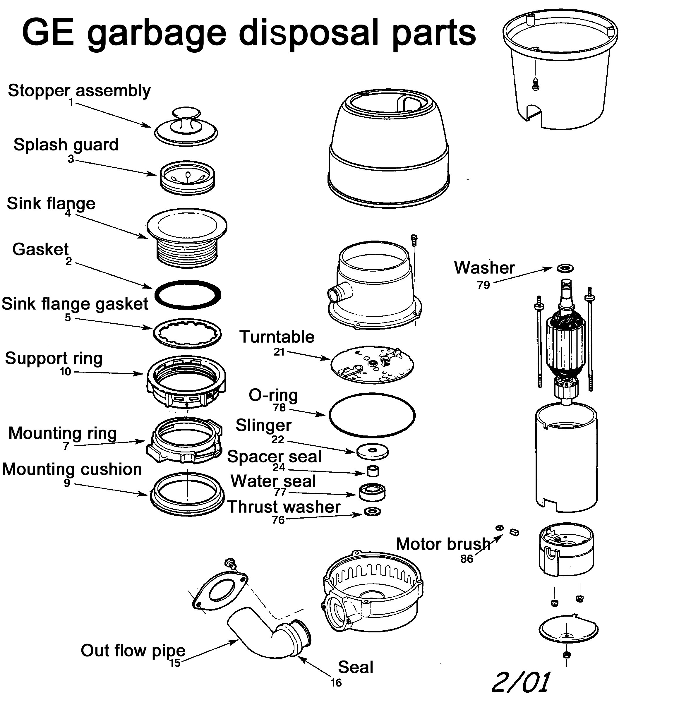 Garbage Disposal Parts. Exploded Image Of GE Parts ...