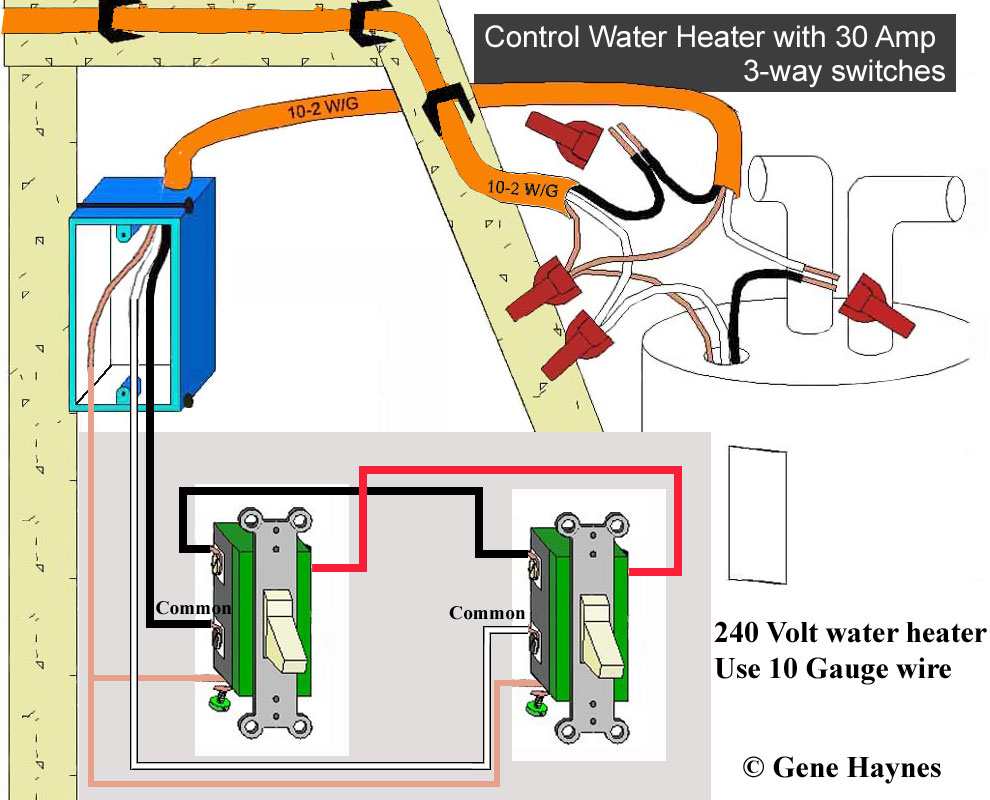 240V water heater can be controlled directly using two 30-amp switches.  Illustration for 30-amp 3-way circuit. Note: 240V circuit has 2 hot wires  <> putting ...