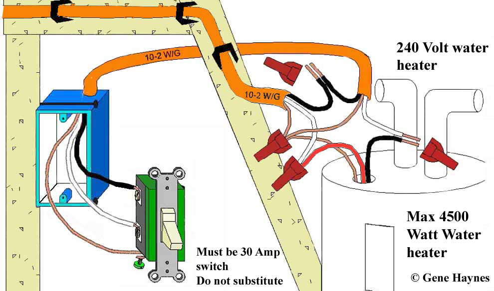 control water heater using 30 amp switch rh waterheatertimer org Single Phase Motor Wiring Diagrams 120 Volt Outlet Wiring Diagram