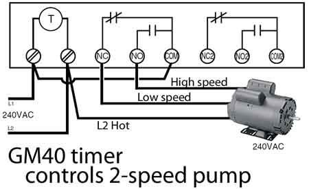 GM40 wiring 2 speed pump 400 how to wire intermatic gm40 series timer to control dc voltage 208 Single Phase Wiring Diagram at gsmportal.co