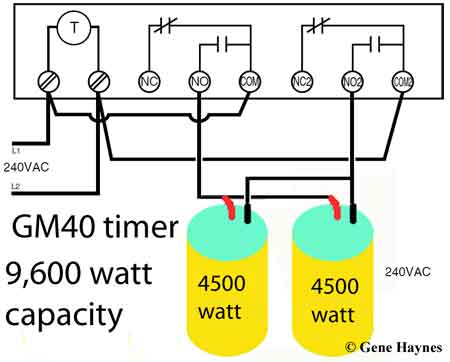GM 40 timer controls 2 water heaters
