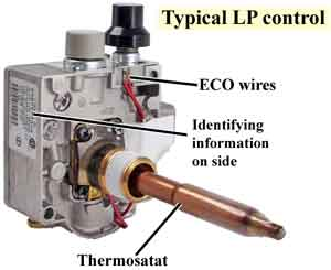 Gas control valve thermostat
